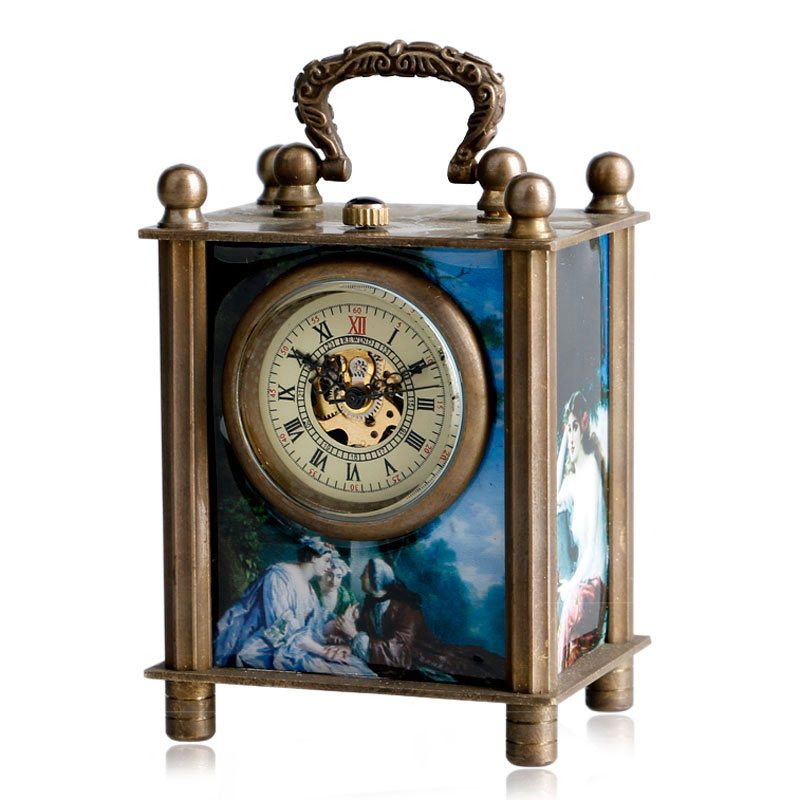 Desk-Clocks Gift-Box Painted-Carved-Mechanical Hand-Winding Wind-Up Retro Antique Fashion