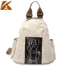 KVKY 2019 Women Cotton Linen Backpacks High Quality School Bags for Teenage Girls Casual Backpack Ladies Print Rucksack Mochila new corduroy backpack high quality school bags for teenger girls casual travel backpacks solid color rucksack mochila xa1867c