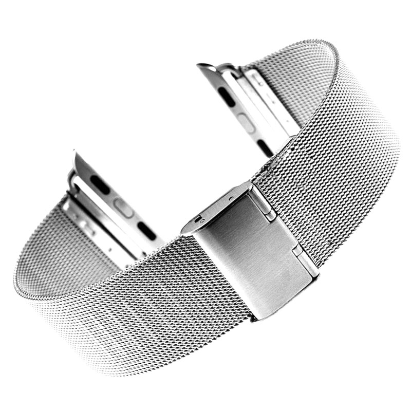 38mm 42mm Silver Tiny Mesh Stainless Steel Watchband for iWatch Apple Watch Wrist Band Bracelet Strap Replacement +2 Spring Bars 28mm convex stainless steel watchband replacement watch band butterfly clasp strap wrist belt bracelet black rose gold silver
