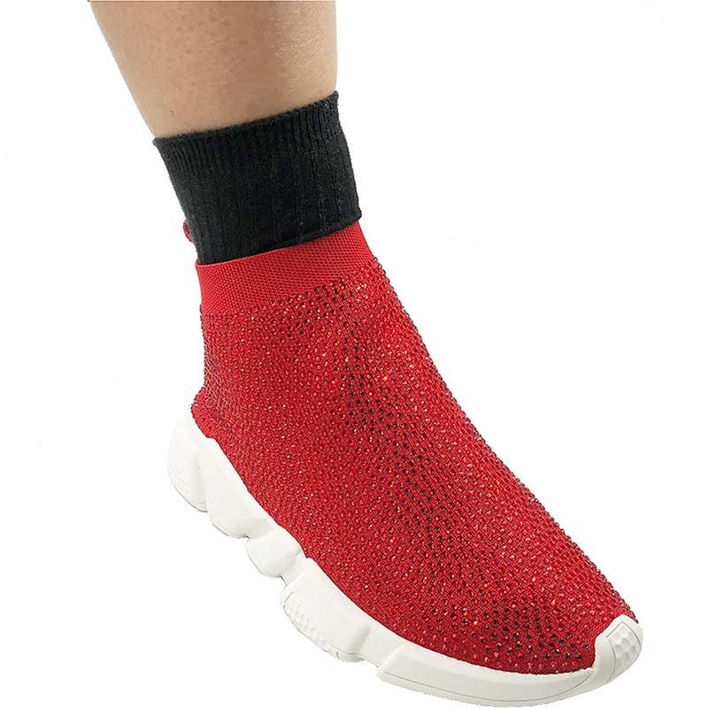 Elehot Rhinestone Red Sock Sneakers (1)