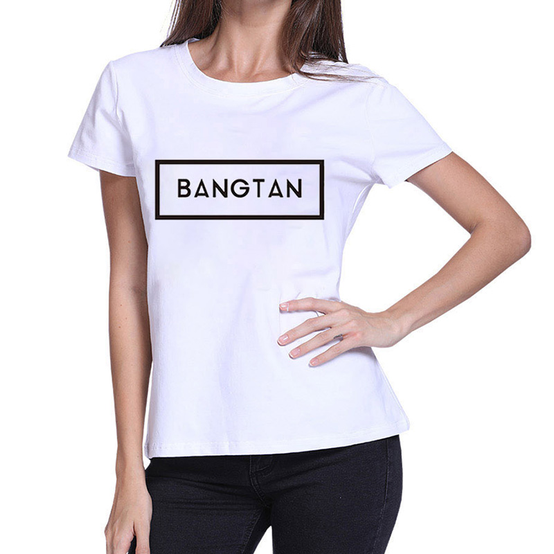 New Kpop Idol Bangtan Boys T-Shirt BTS 2019 Summer Women Harajuku Girl Funny Casual Letter Print Tops Short Sleeve Tees
