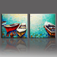 Handmade Wall pictures for living room Cuadros Decoracion Water With Boat 2 Panel Hand Painted Canvas Oil Paintings Art