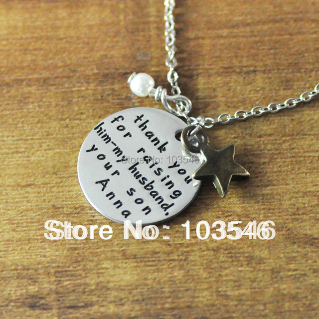 Custom silver color necklace with engraving words, hand stamped ...