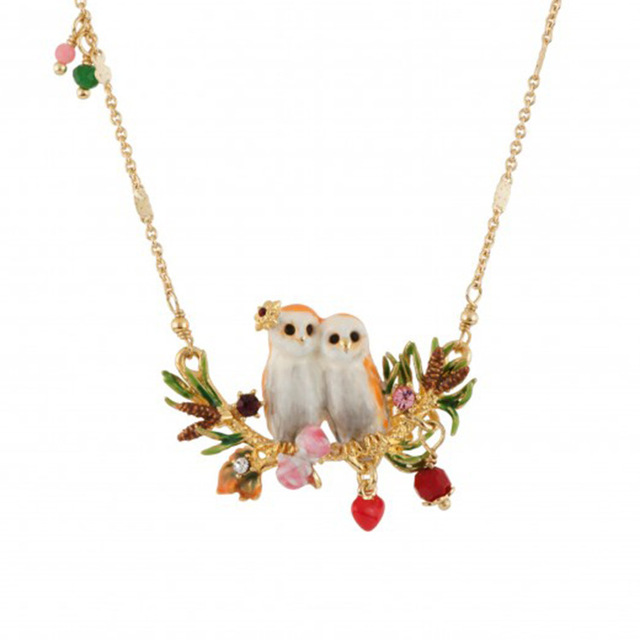 France Autumn And Winter New Pattern Be Listed Enamel Coating Gold Owl Series Crystal Necklace Defence Allergy No Fade Woman