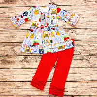 AICTON New cotton  girls boutique pencil Stationery print ruffles pants back to school clothes set lovely school outfit