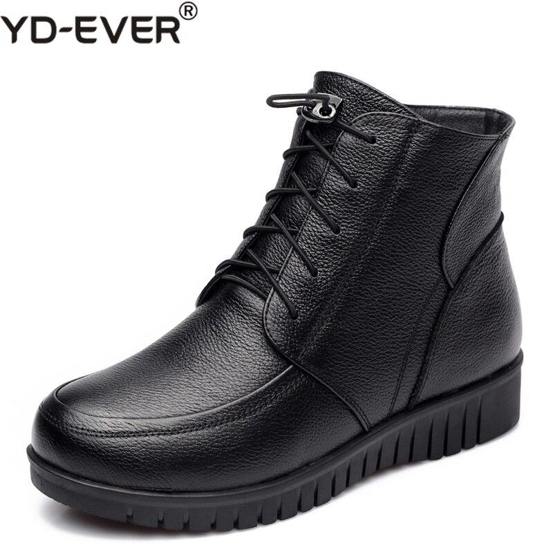Genuino Cuero Nieve Tobillo Negro Bajo Zapatos Botas De Gruesa Invierno Yd Mujeres ever Lana Tacón Las XTq08