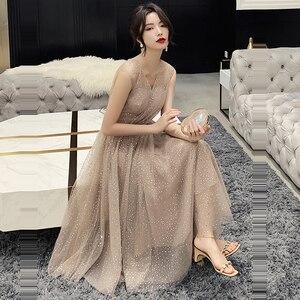 Image 4 - Prom Dress V neck Vestidos De Gala Sequin Elegant Women Party Night Dresses 2019 Plus Size Sleeveless Zipper Prom Gowns E723