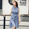 2016 New Summer Women Lace-up One-piece Dress Floral Printting A-line Turn-down Collar Shirt Dress With Belt Plus Size M-XL