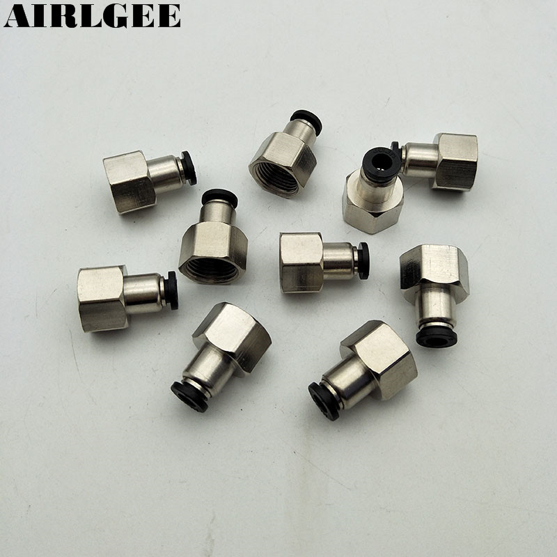 10 Pcs 3/8 PT Female Thread 6mm Air tube Push In Joint Pneumatic Quick Fittings Black air pneumatic connector 6mm od hose tube push in m5 1 8 1 4pt 3 8 1 2 bspt male thread l shape gas quick joint fittings