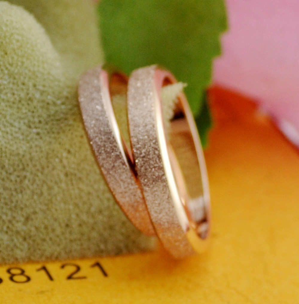 Luxury Matte Titanium Steel Finger Ring For lovers weding Jewelry Rose Gold Fashion Jewelry Women Man ...