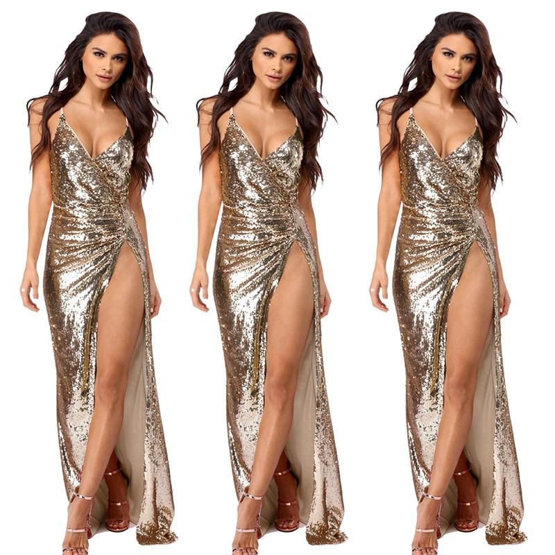 Europe Women Sequin Dress Spaghetti Strap Deep V neck Backless Dress Asymmetrical Sexy Elegant Lady Sparkle Long Party Dress