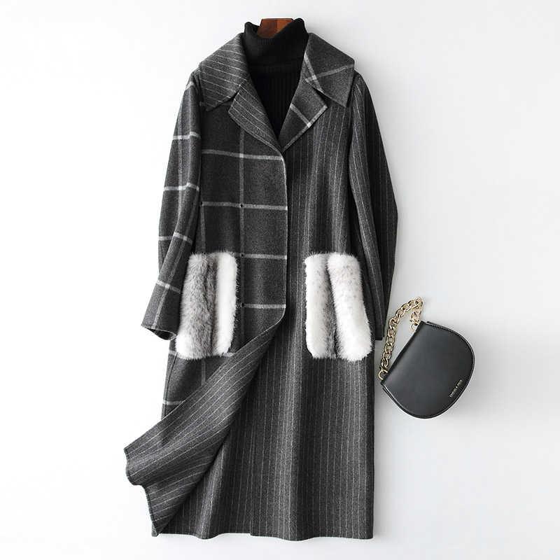 Ayunsue Роскошные Для женщин Шерстяное Пальто Длинные Для женщин s пальто в клетку натурального меха норки карманами зимние куртки шерстяные пальто 38025 WYQ1777