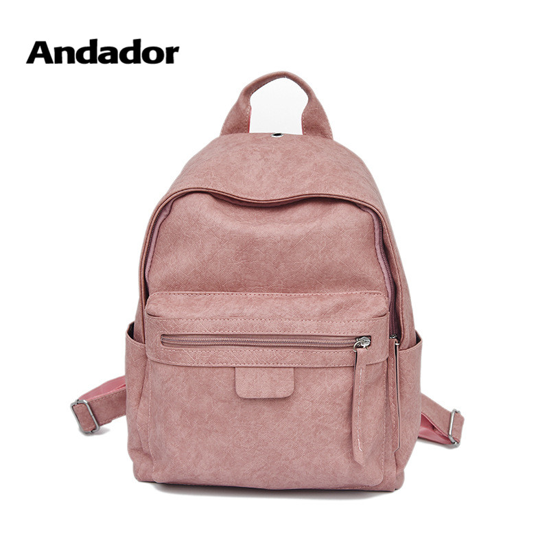Girls Backpacks Teenager Pink Small Casual New-Fashion PU Bag Popular High-Quality Simple