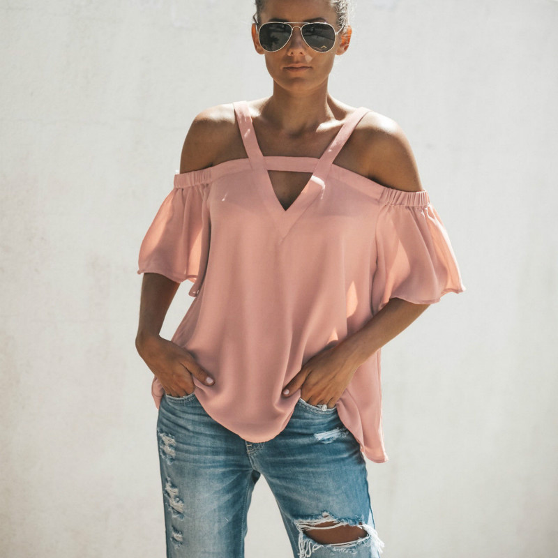 2018 New Women Chiffon Strap Off Shoulder Blouse Sexy V-neck Flare Sleeve Loose Blouse Casual Solid Blouse