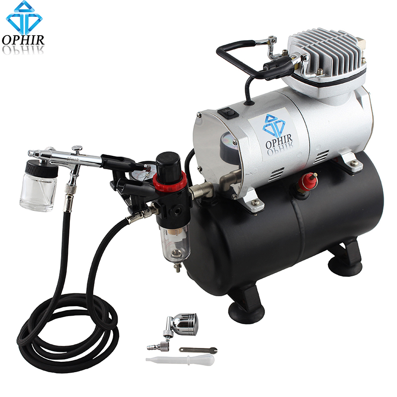 OPHIR 110V 220V Tank Air Compressor with Dual Action Airbrush Gun Paint Kit for Model Hobby Cake Decorating Nail Art_AC090+AC005