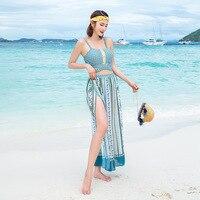 May Female Beach 2019 Womens Bikini Swimwear With Push Up Girls New Shop Ladies Strap High Waist Split Three Piece Skirt