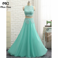 Elegant 2018 Aqua Prom Dresses Long Two Pieces Gown Sweep Train Chiffon Lace Appliques Formal Evening Party Dress