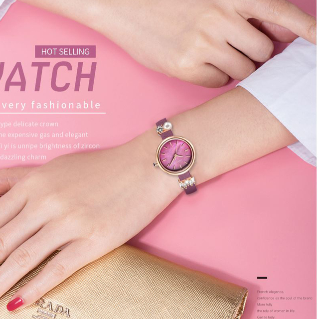 Pink Elegant Ladies Watch Famous Chinese Brand WESTCHI Leather Strap Women Dress Watch Fashion Female Quartz Watch