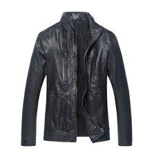 2017 Men Black Stand Collar Slim Fit Genuine Leather Jacket Real Sheepskin Men Winter Short Leather Biker Jacket FREE SHIPPING