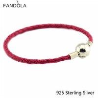 Lederen Armbanden Sieraden Rode Keten Authentieke 925 Sterling Zilveren Sluiting Clip Geschikt Voor Europese Kralen En Bedels CKK