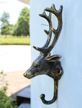 3 Decorative Cast Iron Hook Deer Head Antlers Bronze Dark Green Brown Wall Mount Hanger Animal Hook Garden Key Holder Moosehead