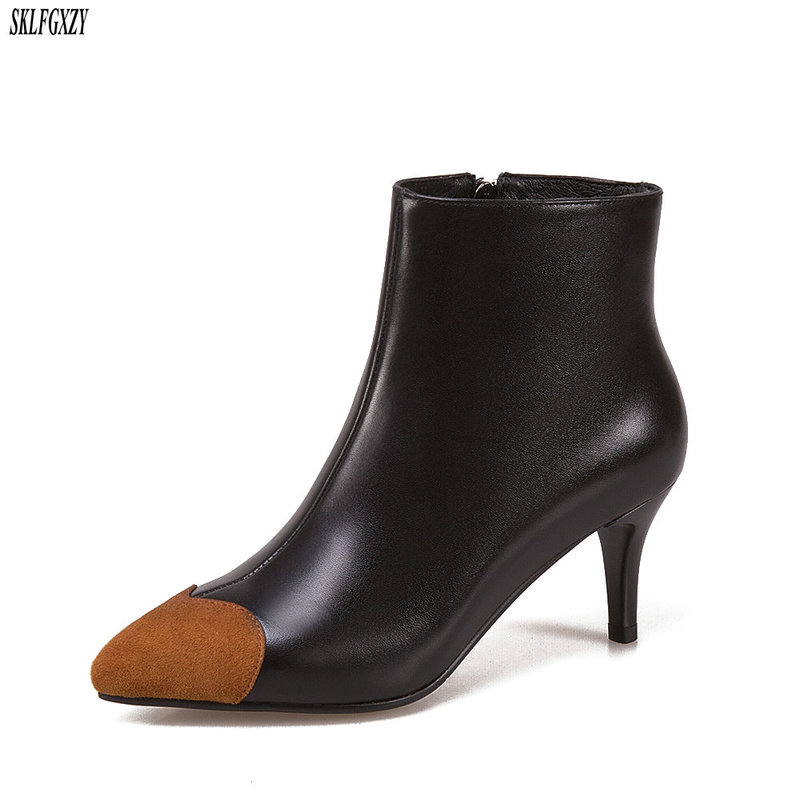 SKLFCXZY 2018 New fall styles leather women boots high-heeled zip short boots women shoes size 34-43SKLFCXZY 2018 New fall styles leather women boots high-heeled zip short boots women shoes size 34-43