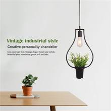 Black vases Green plants Hanging lamps Retro Industrial style Creative Personality Chandelier Clothing shop Cafe Restaurant Li(China)