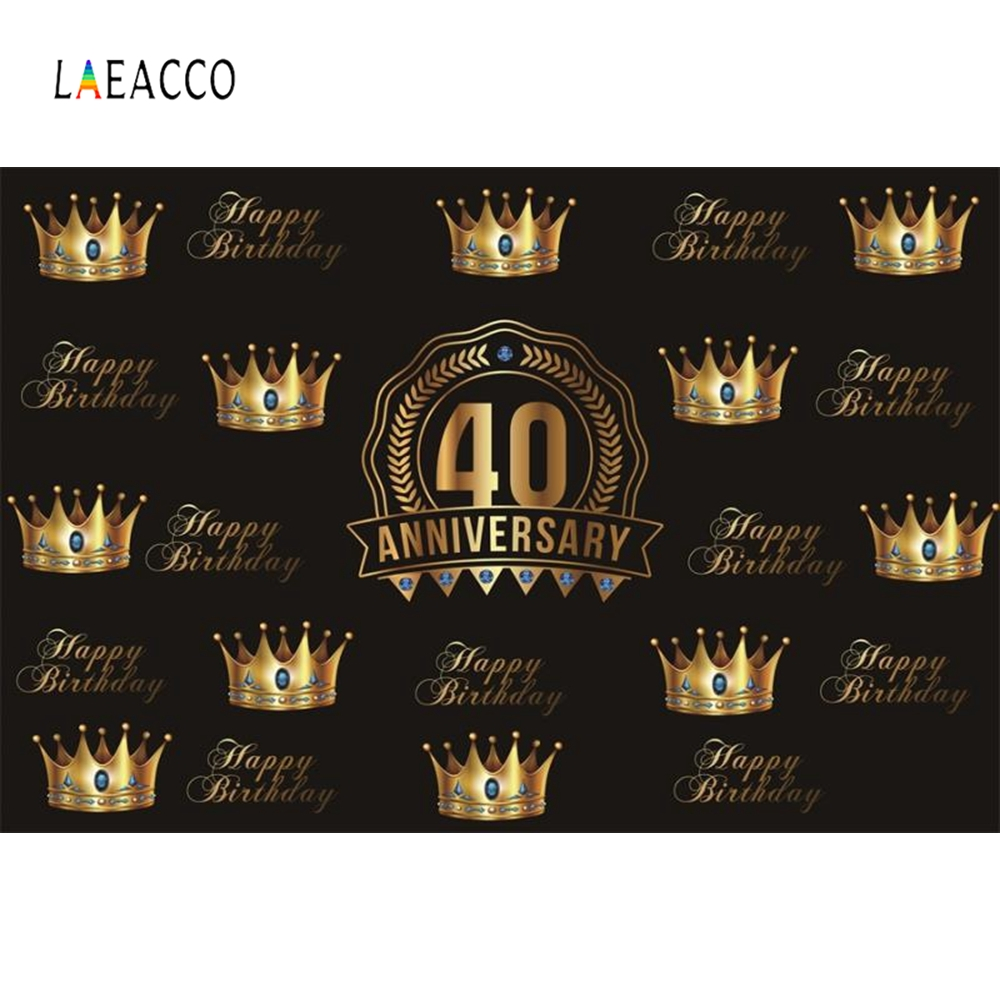 Laeacco Golden Crown Birthday Party 40th Anniversary Photography Backgrounds Customized Photographic Backdrops for Photo Studio