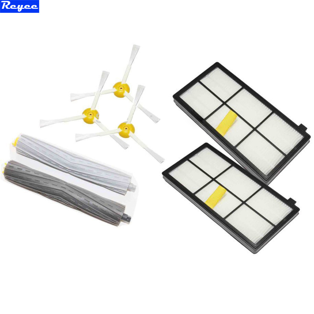 2pcs HEPA Filter 3 x 3-arm Side Brush 1 Pairs Tangle-Free Debris Extractor For iRobot Roomba 800 Series 870 880 Vacuum Cleaner цена и фото