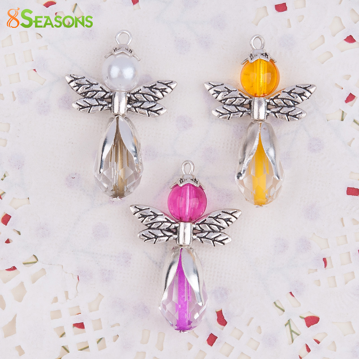 8SEASONS Guardian Angel Wing Pendants Angel Antique Silver With Glass Orange Fuchsia Beads White Acrylic imitation Pearl ,1 Set