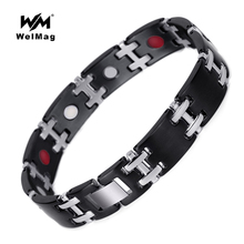hot deal buy welmag 2017 fashion magnetic stainless steel bracelets & bangles for men adjustable size bio energy bangles healing fir jewelry