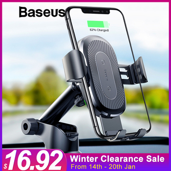 Baseus 2 in1 Qi bezprzewodowa ładowarka samochodowa dla iPhone X XS XR Samsung S9 szybkie bezprzewodowe ładowanie ładowarka uchwyt samochodowy uchwyt telefonu