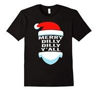Dilly Dilly Yall 산타 모자 크리스마스 T 셔츠 남성 티셔츠 고전 최고 티 캐주얼 T 셔츠 남성 짧은 소매 패턴