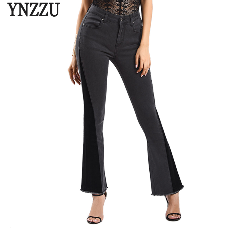 Ynzzu Elegant Jeans Women 2018 New High Waist Black Skinny Flare Pants Denim Pants -5931