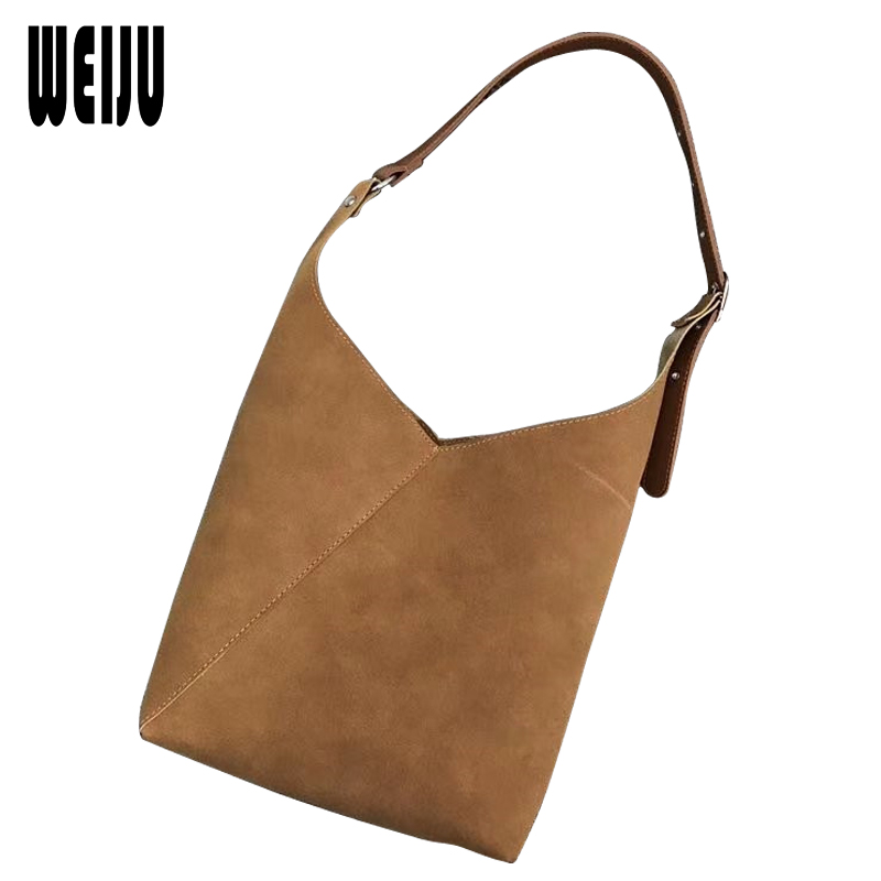 WEIJU New Fashion Bags for Women 2018 Suede Leather Handbags Ladies Large Capacity Crossbody Bags Composite Bag Female Totes fashion pu composite bags handbags crossbody bag solid color versatile totes for women girl lady gl k871