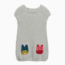 2015 feminine baby cartoon stereo the cat embroidered thick yarn baby knitted sweater child ladies sweater