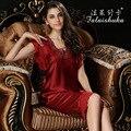 100% Natural de Seda Pijamas Feminino Verão de Manga Curta Mulheres Sleepwear Conjuntos de Pijama de Seda Com Decote Em V Bordado Ral T77118
