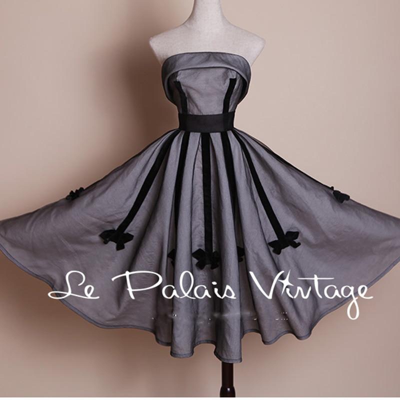 FREE SHIPPING Le Palais Vintage vintage elegant classic 1950 bow strapless dress gray