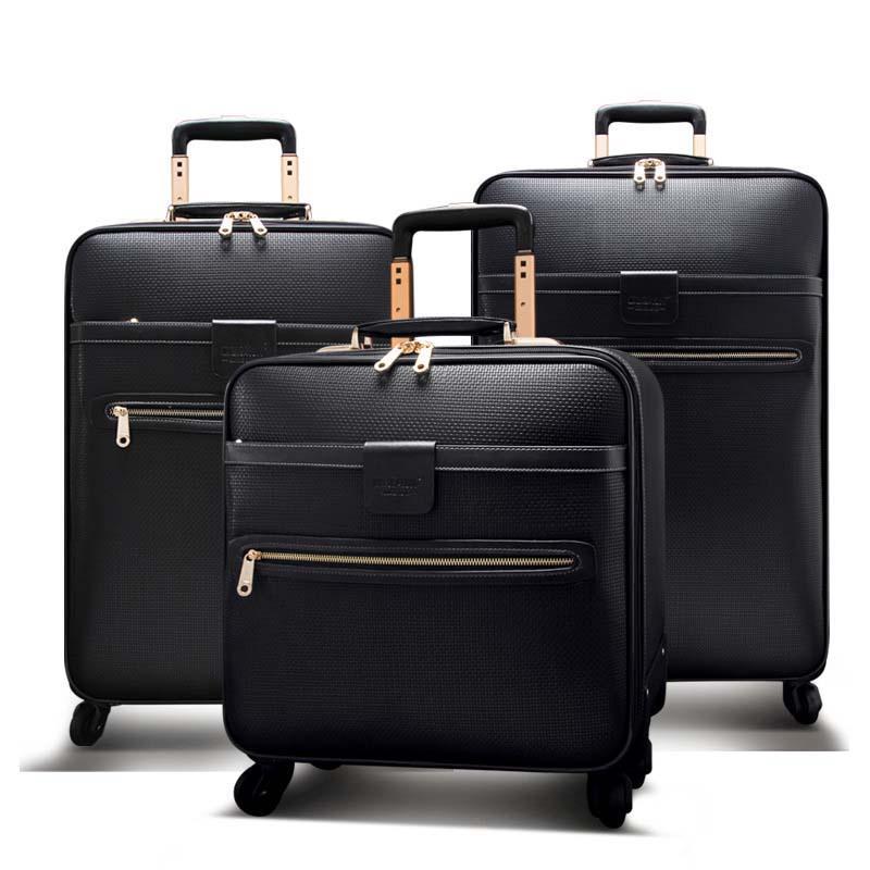 Bagaj ve Çantalar'ten Bavullar'de LeTrend Erkekler Iş Haddeleme Bagaj Spinner 16 inç Kabin Arabası Şifre Bavul Tekerlekleri Yüksek kapasiteli Seyahat Çantası Bagaj'da  Grup 1