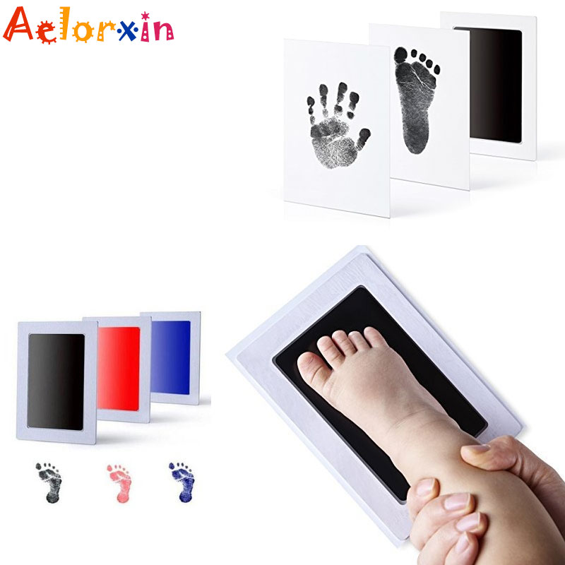 Baby Handprint Footprint Non-toxicBaby Handprint Baby Care Imprint  Kit Baby Souvenirs Casting Newborn Footprint Ink Pad Infant