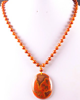New Fashion 100% Natural Red Veins Onyx Beads Necklace Pendant Free Shipping Q001