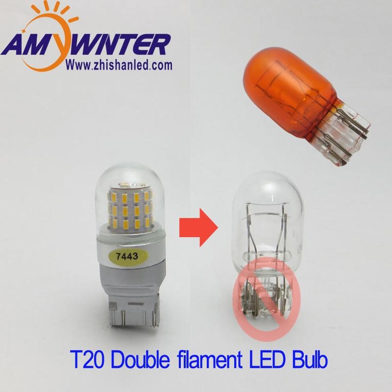 7444 T20 7443 Led  Dual Light Function 7440 Single Light Amber Yellow White Car Brake Lights Bulbs Red Car Light Source