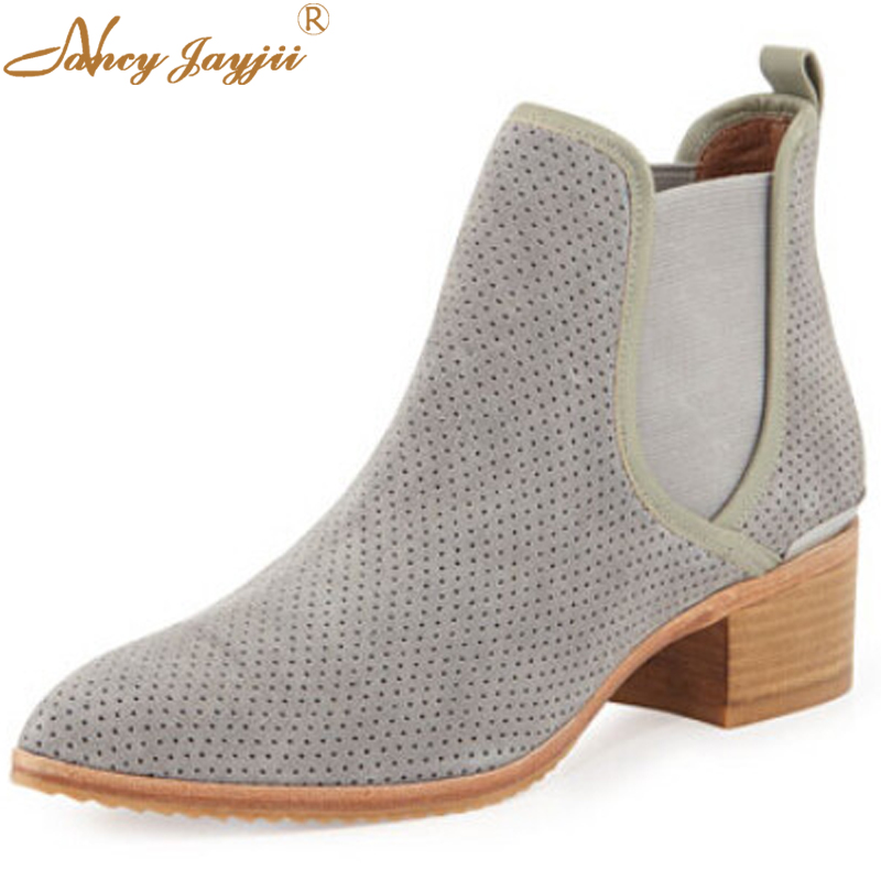Nancyjayjii Chelsea Boots Polka Dot Women Fashion Ventilate Perforated Suede Ankle Boots ...