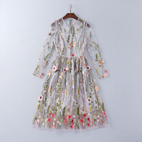 Europe And United States Early Autumn 2016 New Women S Heavy Embroidery Perspective Slim Waist Dress