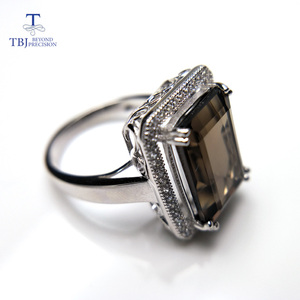 Image 3 - TBJ,Classic big size gemstone ring with Natural smoky oct10*14mm in 925 sterling silver special gemstone jewelry gift for women
