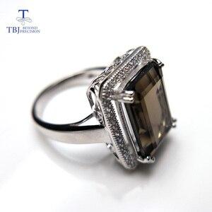Image 3 - TBJ bague classique en pierres précieuses de grande taille, bijoux en pierres précieuses, avec fumée naturelle oct10 * 14mm en argent sterling 925, cadeau pour femmes