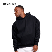 HEYGUYS design fashion hip hop hoodies men black plain plus sweatshirts man brand clothing street wear oversize high street(China)