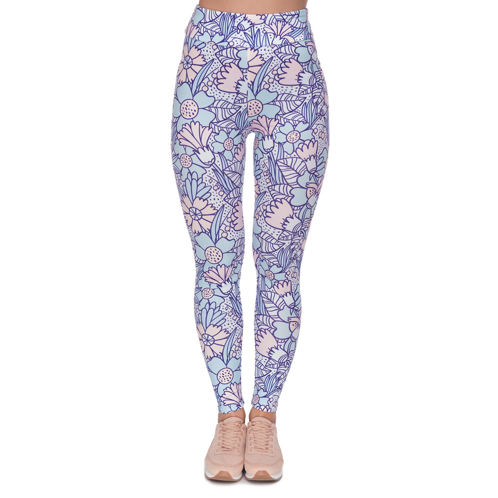 Fashion High Waist Legging Pastel Flowers Cartoon Printing Women Leggings Fitness Flexibility Woman Pants