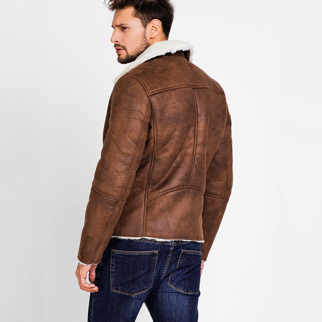 HTB1OAGeX8v0gK0jSZKbq6zK2FXa5 Zipper Closure for Men Leather Jacket Autumn Winter Warm Fur Lining Lapel Leather outerwear layer дубленка мужская кожаная Coat