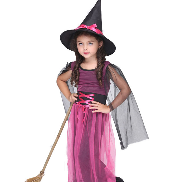 halloween costume for kids autumn girl witch dresses transparent mesh yarn cloak costumes cartoon dress carnival